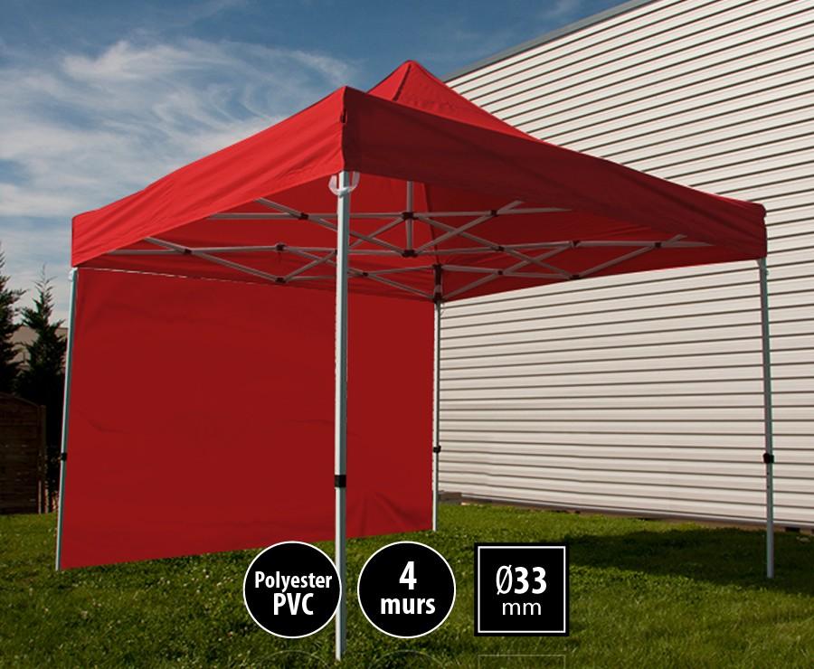 Tente pliante acier SEMI-PRO 3mx3m rouge + sac de transport + 4 murs