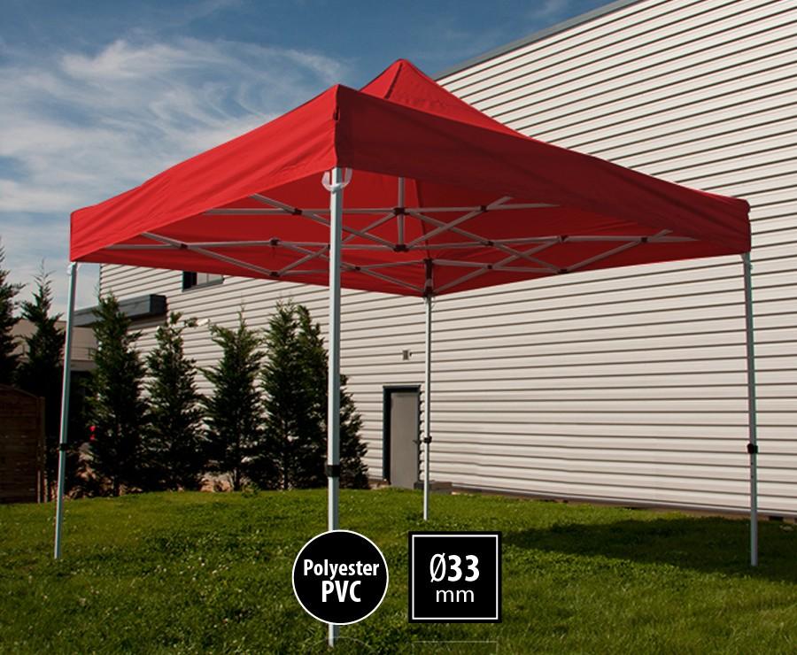Tente pliante acier 3x3m rouge gamme SEMI-PRO, toit polyester pelliculé PVC 300gr/m2