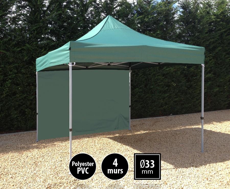 Tente pliante acier SEMI-PRO 3mx3m vert + sac de transport + 4 murs
