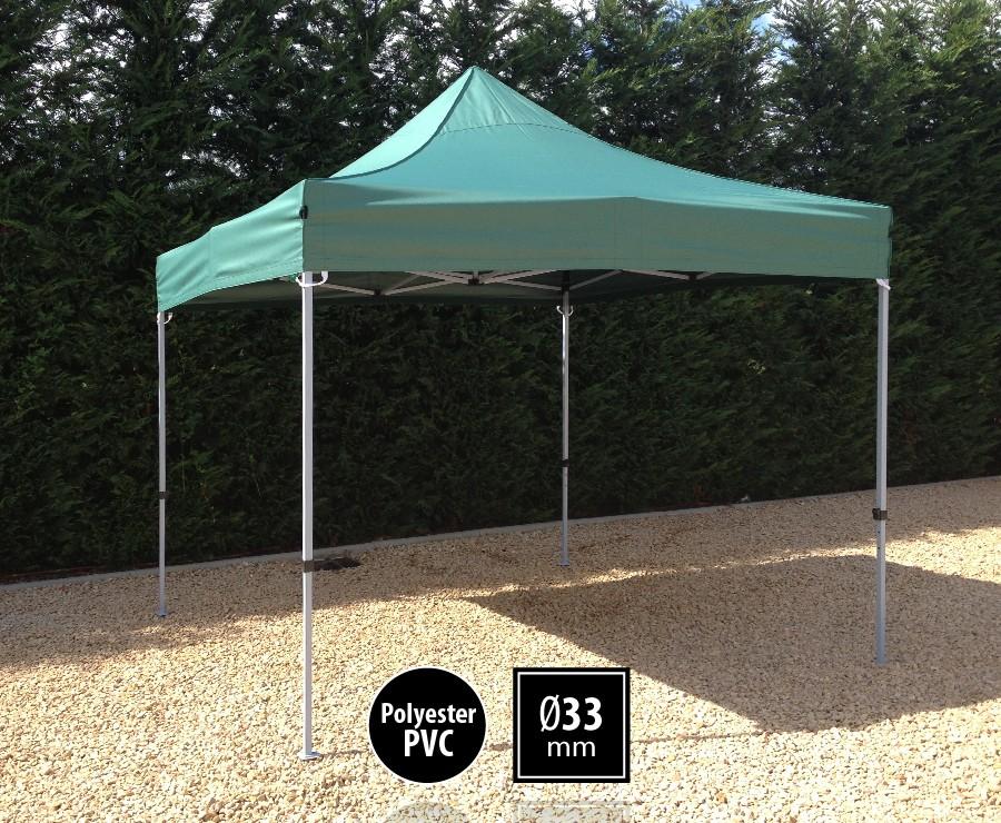Tente pliante acier 3x3m vert gamme SEMI-PRO, toit polyester pelliculé PVC 300gr/m2