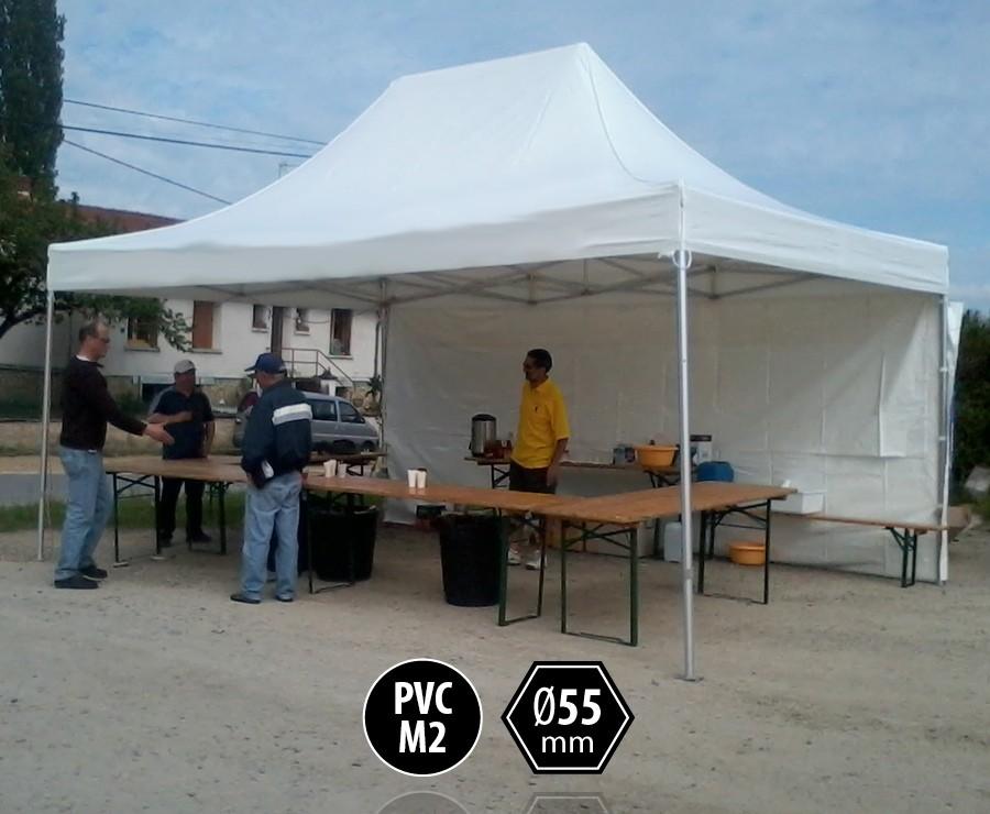 Tente pliante PRO+ 55 aluminium 4x6 blanc, toit PVC norme M2 + 4 murs d'entourage