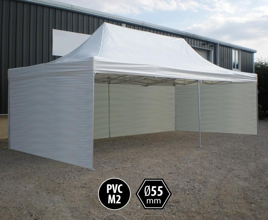 Tente pliante PRO+ 55 aluminium 4x8 blanc, toit PVC norme M2 + 6 murs d'entourage