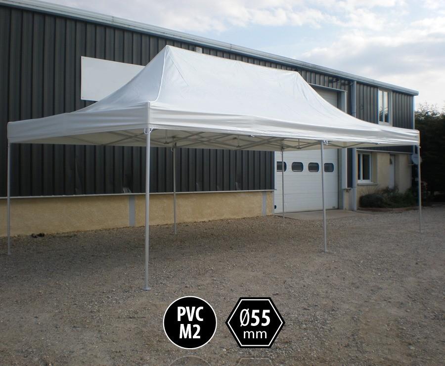 Tente pliante PRO+ 55 aluminium 4x8 blanc, toit PVC norme M2
