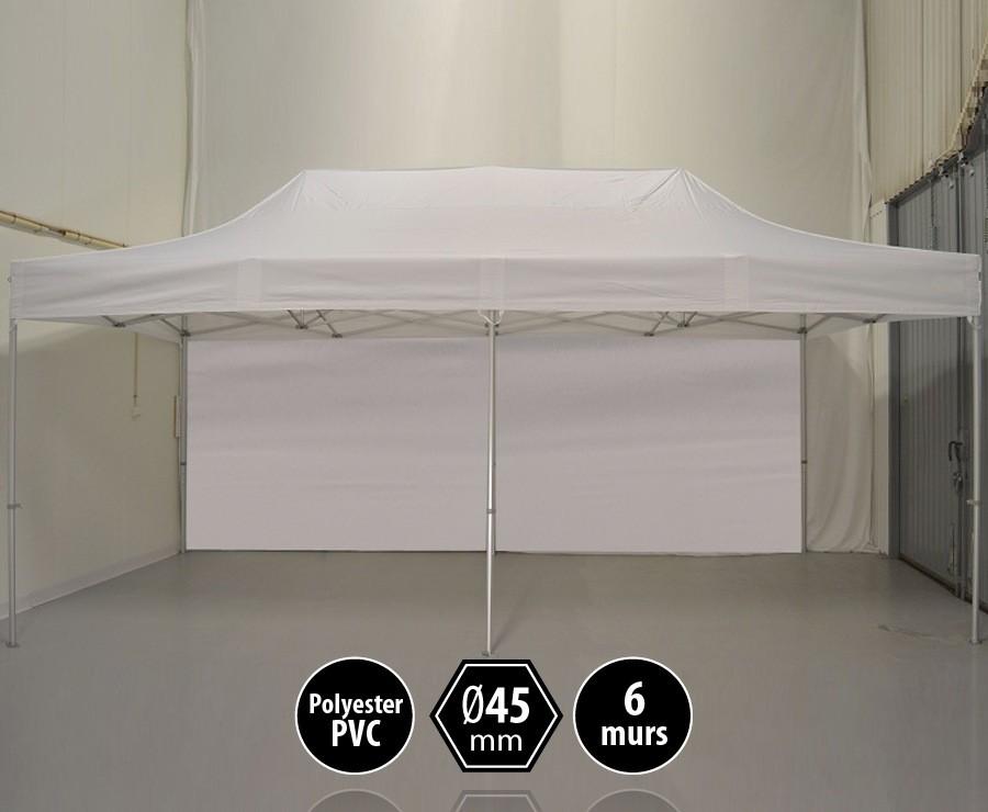 Tente pliante alu 3x6m blanc gamme PRO 45, toit 300gr/m2 + 6 murs