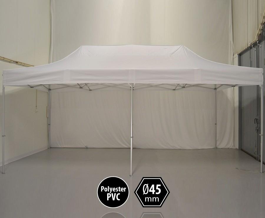 Tente pliante aluminium 3x6m blanc gamme PRO 45 sans murs