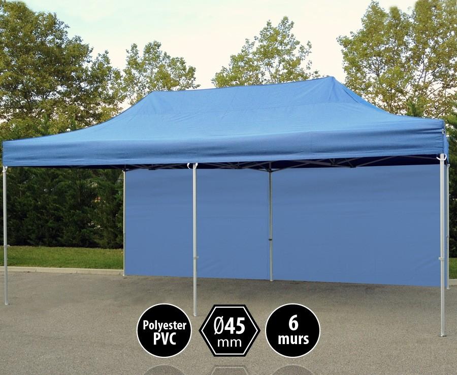Tente pliante alu 3x6m bleu gamme PRO 45, toit 300gr/m2 + 6 murs
