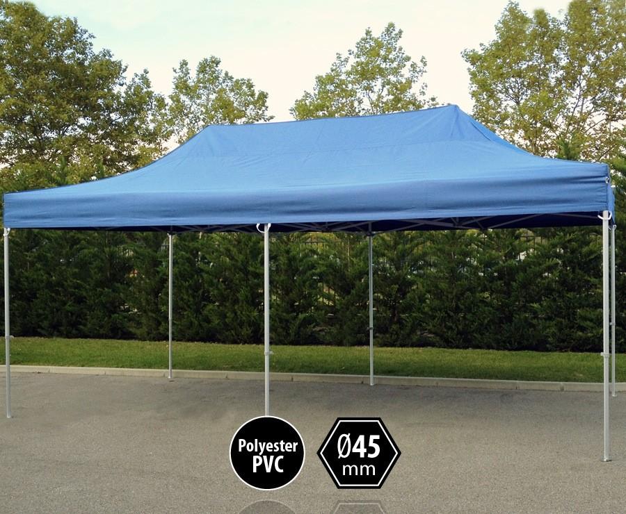 Tente pliante aluminium 3x6m bleu gamme PRO 45 sans murs