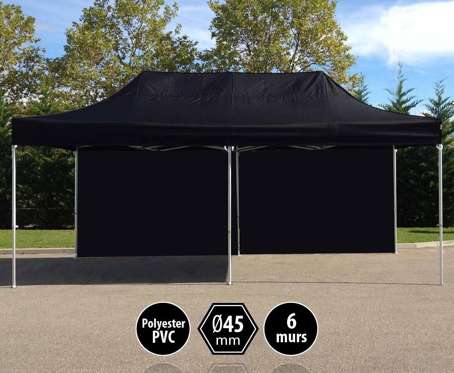 Tente pliante alu 3x6m noir gamme PRO 45, toit 300gr/m2 + 6 murs