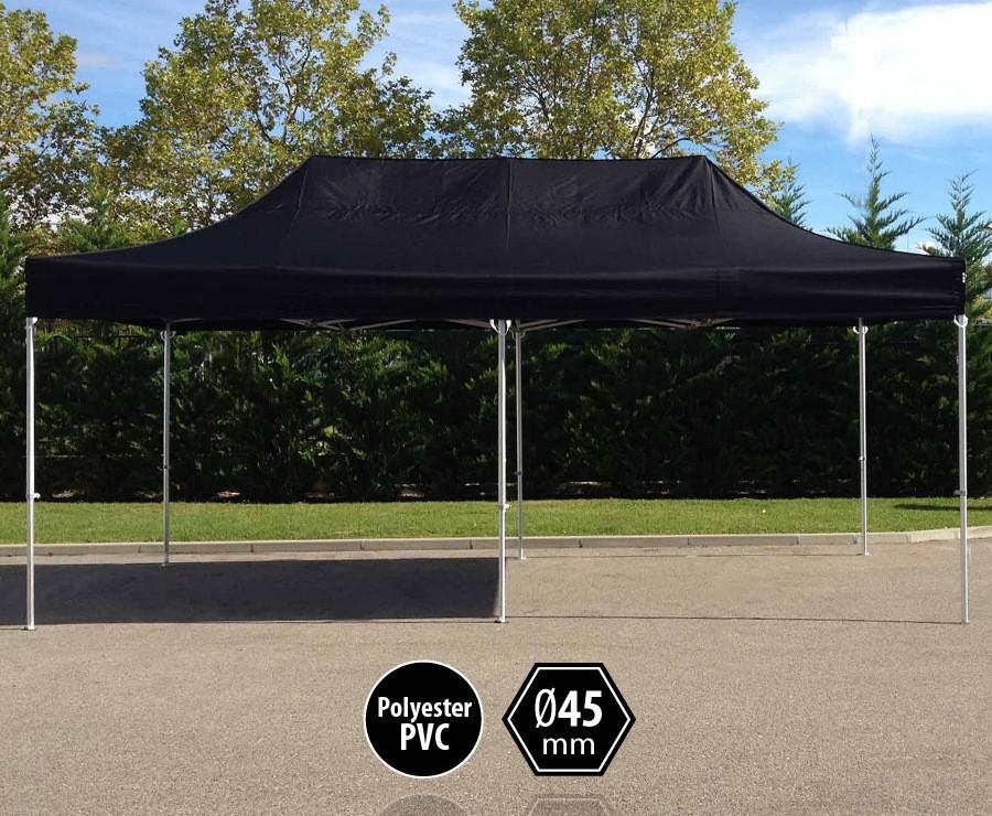 Tente pliante aluminium 3x6m noir gamme PRO 45 sans murs