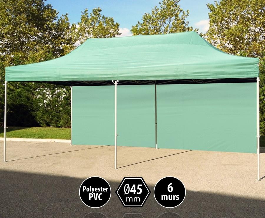 Tente pliante alu 3x6m vert gamme PRO 45, toit 300gr/m2 + 6 murs