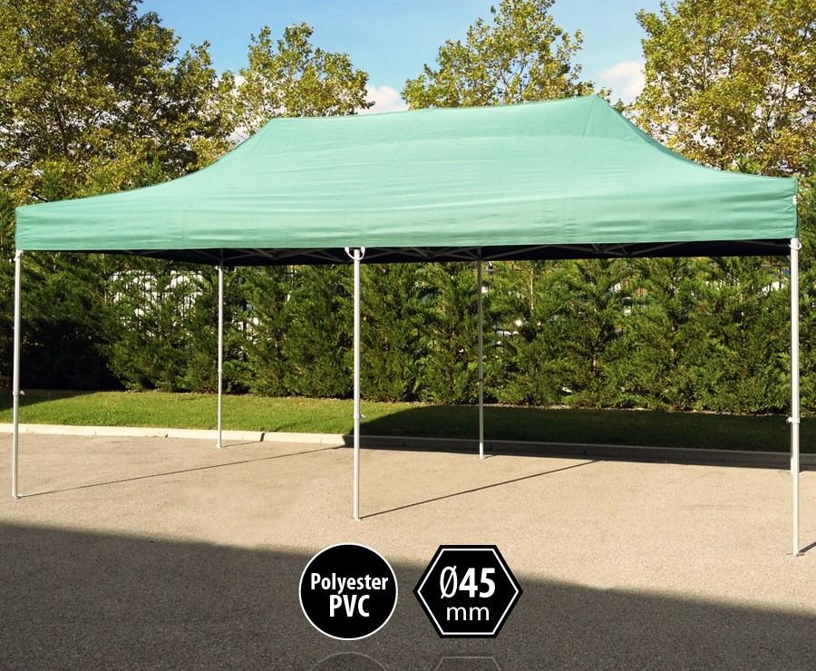 Tente pliante aluminium 3x6m vert gamme PRO 45 sans murs