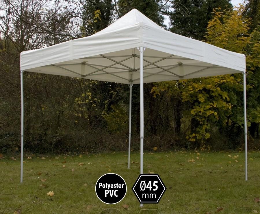 Tente pliante aluminium 3x3m blanc gamme professionnelle PRO 45