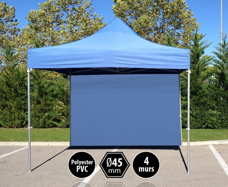 Tente pliante 3x3m bleu gamme PRO 45 - 300gr/m2 + 4 murs