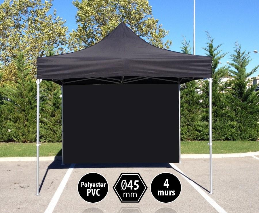 Tente pliante 3x3m noir gamme PRO 45 - 300gr/m2 + 4 murs