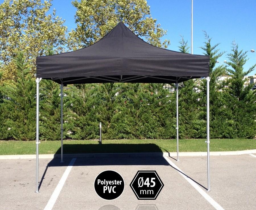 Tente pliante aluminium 3x3m noir gamme professionnelle PRO 45