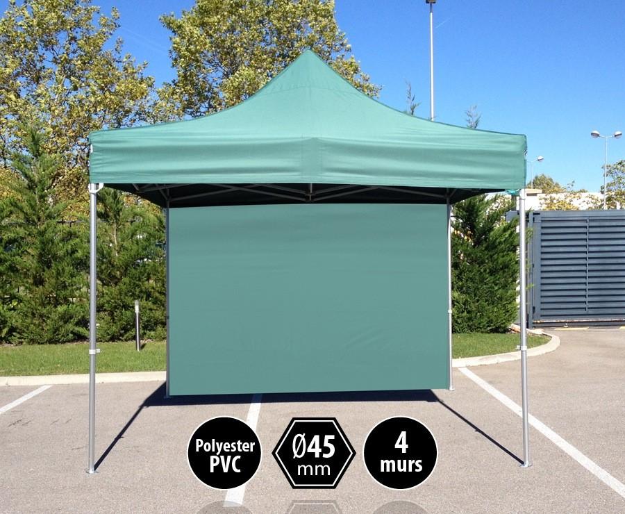 Tente pliante 3x3m vert gamme PRO 45 - 300gr/m2 + 4 murs