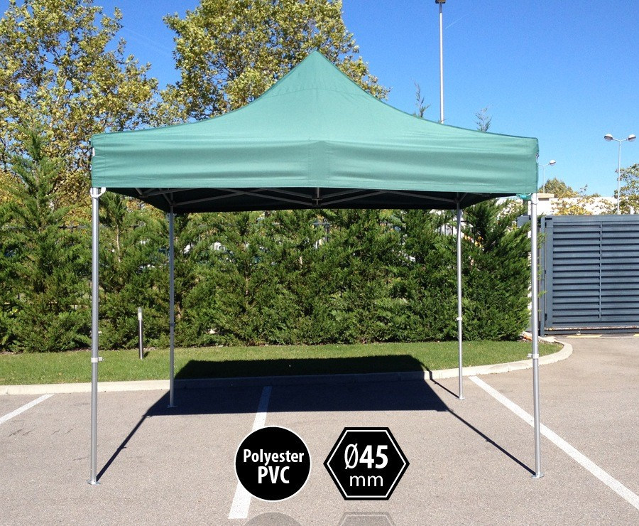 Tente pliante aluminium 3x3m vert gamme professionnelle PRO 45