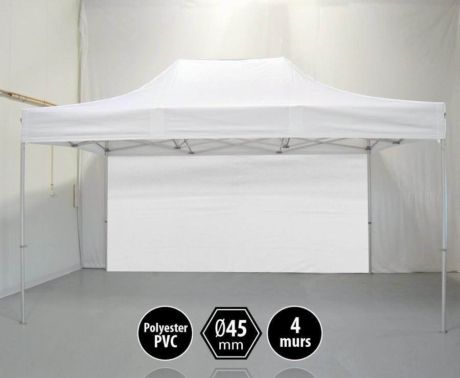 Tonnelle alu 3x4,5m blanc gamme PRO 45, toit polyester pelliculé PVC 300gr/m2 + 4 murs