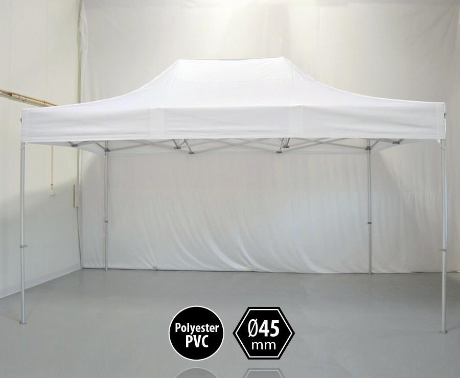 Tente pliante aluminium 3x4,5m blanc gamme PRO 45, sans côtés