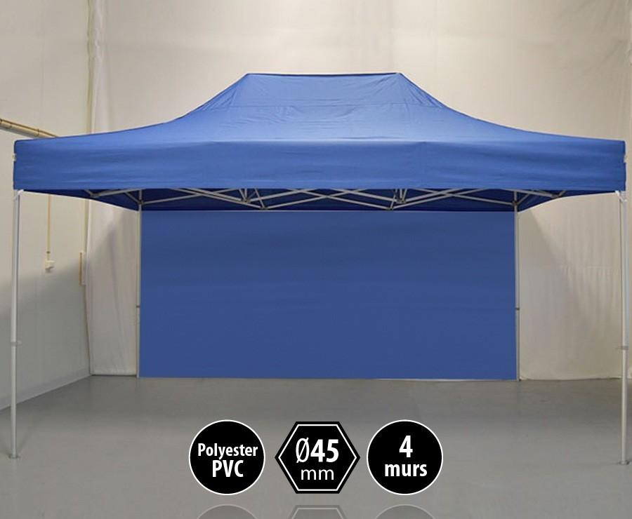 Tonnelle alu 3x4,5m bleu gamme PRO 45, toit polyester pelliculé PVC 300gr/m2 + 4 murs