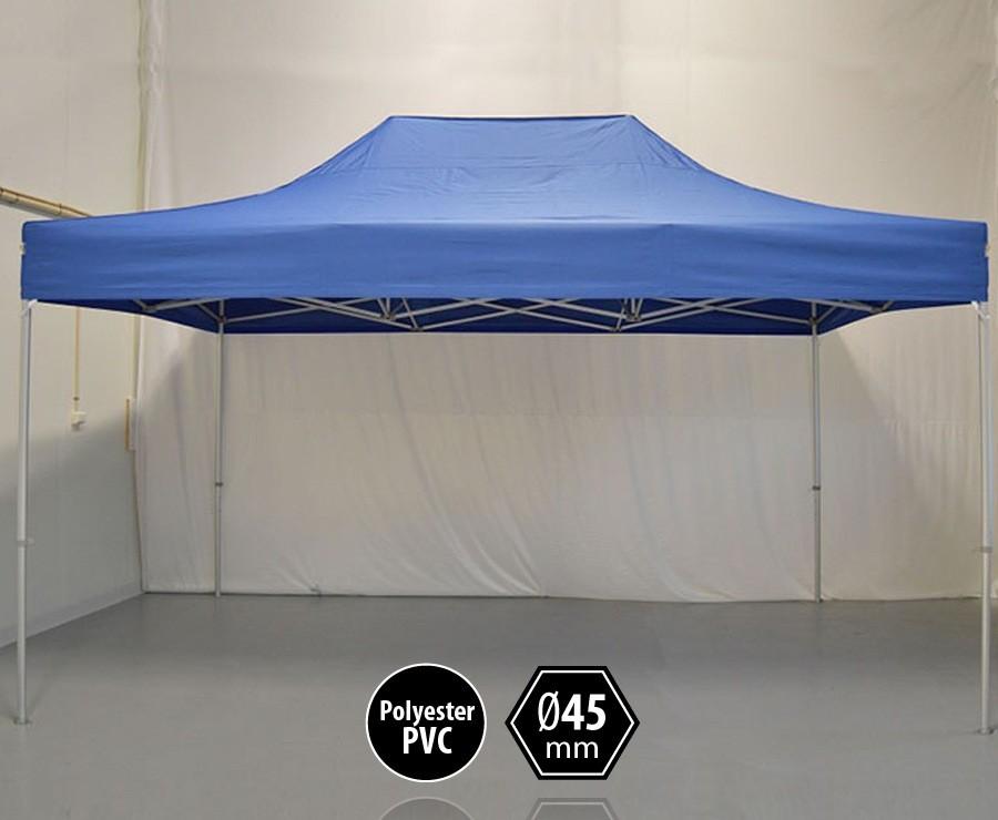 Tente pliante aluminium 3x4,5m bleu gamme PRO 45, sans côtés