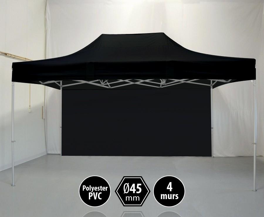 Tonnelle alu 3x4,5m noir gamme PRO 45, toit polyester pelliculé PVC 300gr/m2 + 4 murs