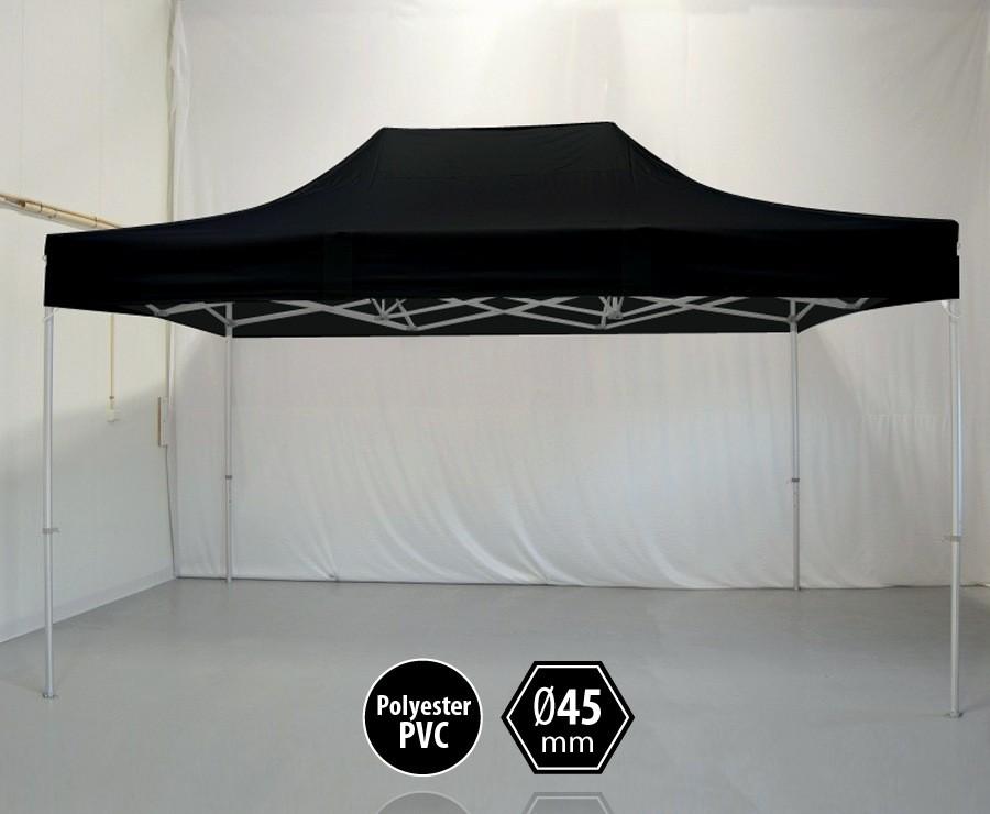 Tente pliante aluminium 3x4,5m noir gamme PRO 45, sans côtés