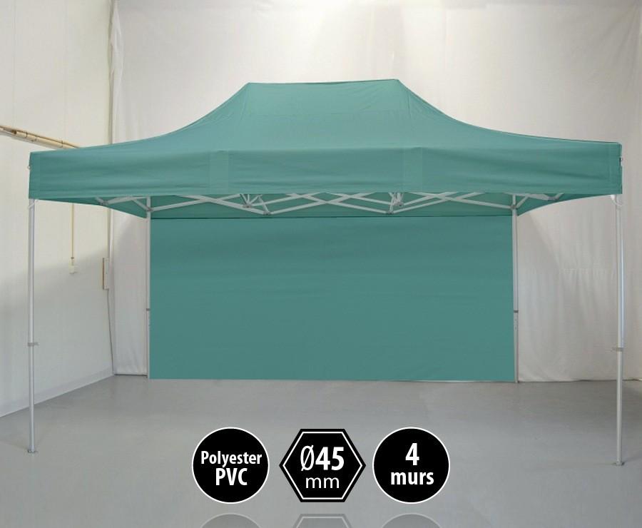 Tonnelle alu 3x4,5m vert gamme PRO 45, toit polyester pelliculé PVC 300gr/m2 + 4 murs