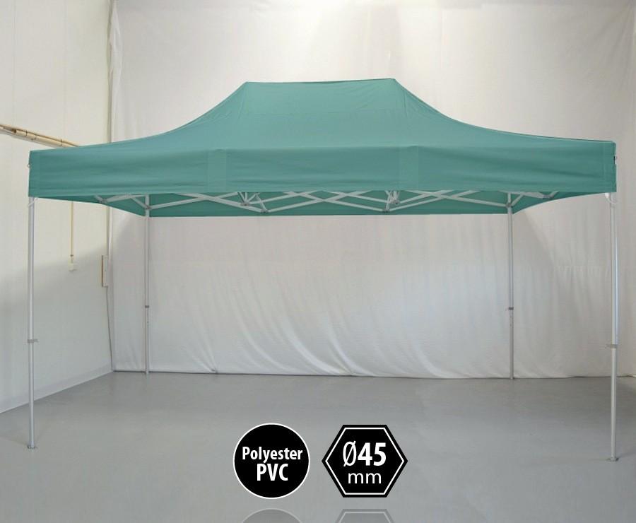 Tente pliante aluminium 3x4,5m vert gamme PRO 45, sans côtés