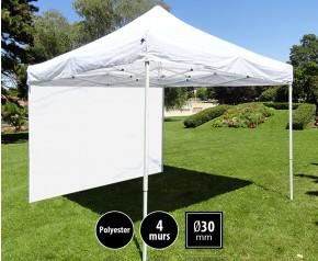 Tente pliante 3x3m loisirs couleur banche acier et polyester