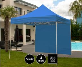 Tente pliante 3x3m loisirs couleur bleu acier et polyester