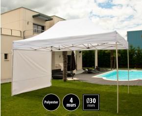 Tente pliante 3x4,5m loisirs couleur blanc acier et polyester