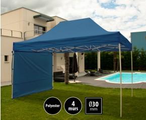 Tente pliante 3x4,5m loisirs couleur bleu acier et polyester