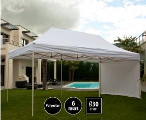 Tente pliante 3x6m loisirs couleur blanc acier et polyester