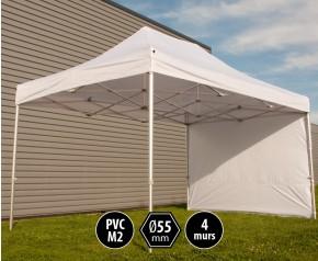 Tente pliante PRO+ 55 aluminium 3x4,5m blanc + 4 murs HD