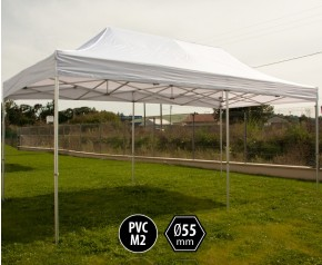 Tente pliante PRO+ 55 aluminium 3x6m blanc HD