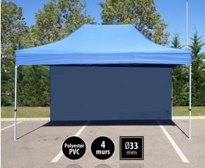 Tente semi-professionnelel 3x4,5m bleu avec pack 4 murs HD