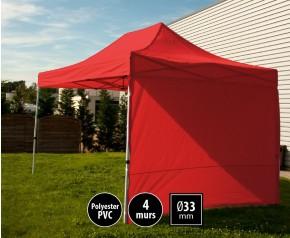 Tente semi-professionnelel 3x4,5m rouge avec pack 4 murs HD