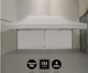 Tente pliante gamme SEMI PRO 3x6m blanc avec pack 6 murs HD