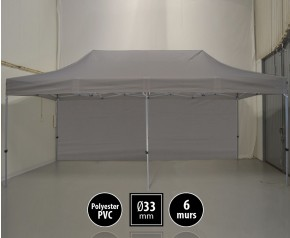 Tente pliante gamme SEMI PRO 3x6m gris avec pack 6 murs HD