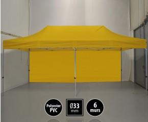Tente pliante gamme SEMI PRO 3x6m jaune avec pack 6 murs HD