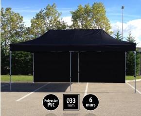 Tente pliante gamme SEMI PRO 3x6m noir avec pack 6 murs HD