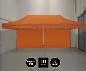 Tente pliante gamme SEMI PRO 3x6m orange avec pack 6 murs HD