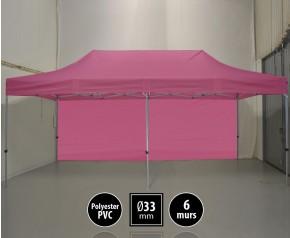 Tente pliante gamme SEMI PRO 3x6m rose avec pack 6 murs HD
