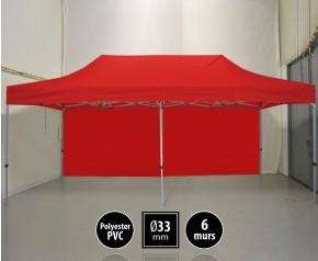 Tente pliante gamme SEMI PRO 3x6m rouge avec pack 6 murs HD