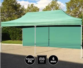 Tente pliante gamme SEMI PRO 3x6m vert avec pack 6 murs HD