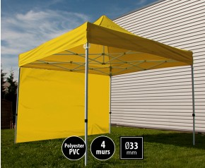 Tente pliante SEMI PRO métal 3x3m jaune avec murs HD