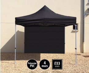 Tente pliante SEMI PRO métal 3x3m noir avec murs HD