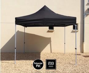 Tente pliante SEMI PRO métal 3x3m noir HD sans murs
