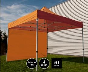 Tente pliante SEMI PRO métal 3x3m orange avec murs HD